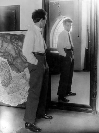 Egon Schiele en su estudio 1915