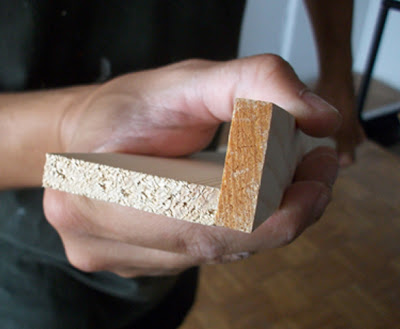 listones de madera en L